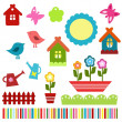 Stock Vector: Colorful child scrapbook elements