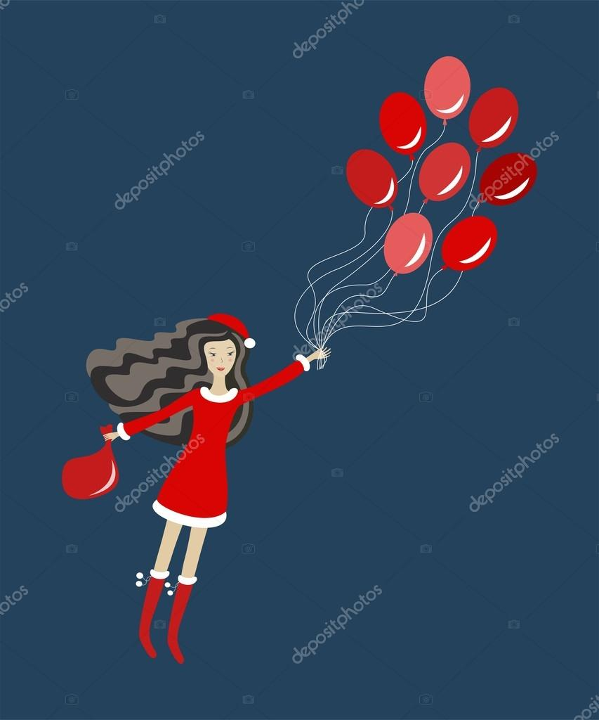 Santa girl with balloons, vector illustration — Stock Vector #14392329