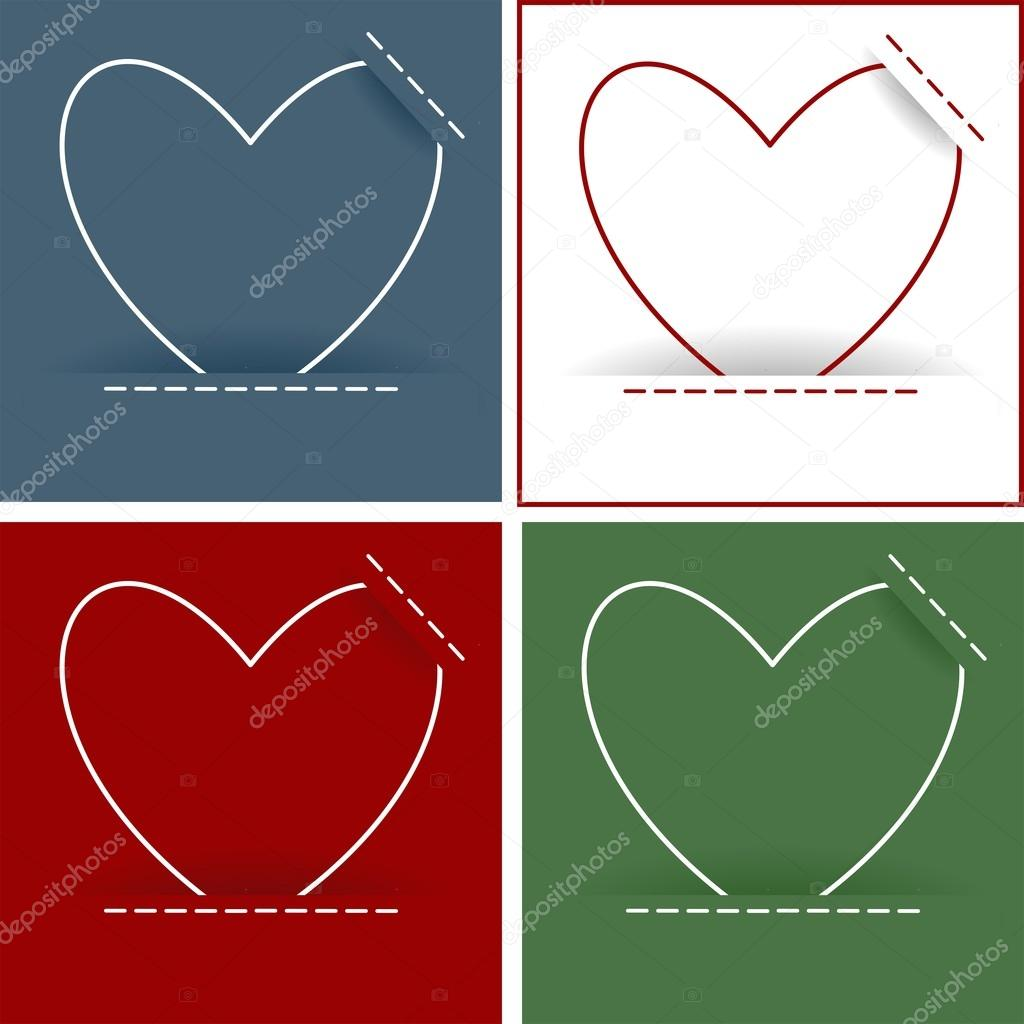 Heart card set, vector illustration — Vettoriali Stock  #16890601