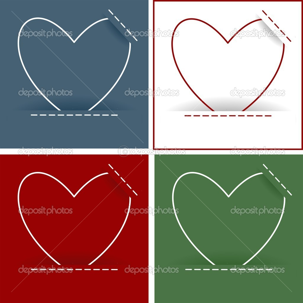 Heart card set, vector illustration — Image vectorielle #16890601