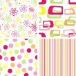 Set of summer seamless pattern — Stock Vector