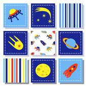 Set of child cosmos decor elements, vector illustration — Stock Vector