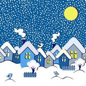 Winter fairytale seamless card, vector illustration — Stock Vector