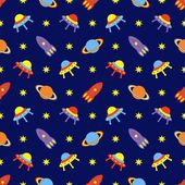 Child cosmos seamless pattern, vector illustration — Stock Vector
