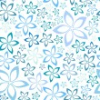 Stock Vector: Simple blue floral seamless pattern, vector illustration