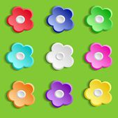 Set of colorful paper flowers on green background, vector illustration — Stock Vector