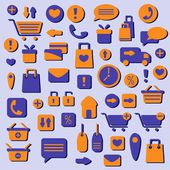 Shopping icons set, vector illustration — Stock Vector