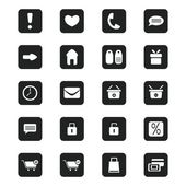 Black shopping icons set, vector illustration — Stock Vector