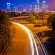 Royalty-Free Stock Photo: Charlotte the queen city financial district view from freeway
