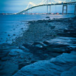 Jamestown bridge crossing over bay at newport rhode island - Stock Photo