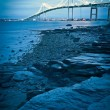 Stock Photo: Jamestown bridge crossing over bay at newport rhode island