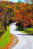 Winding rural mountain road in Autumn — Stock Photo