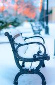 ławki w parku pokryta śniegiem — Zdjęcie stockowe