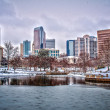 Charlotte skyline in snow — Stock Photo