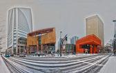 Charlotte skyline in snow — Stock Photo