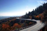 Blue Ridge Parkway Autumn Linn Cove Viaduct Fall Foliage Mountains — Stock Photo