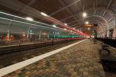 Train station at night — Stock Photo