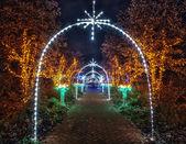 Christmas decorated street — Stock Photo