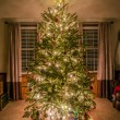 Christmas tree decorated in living room — Stock Photo
