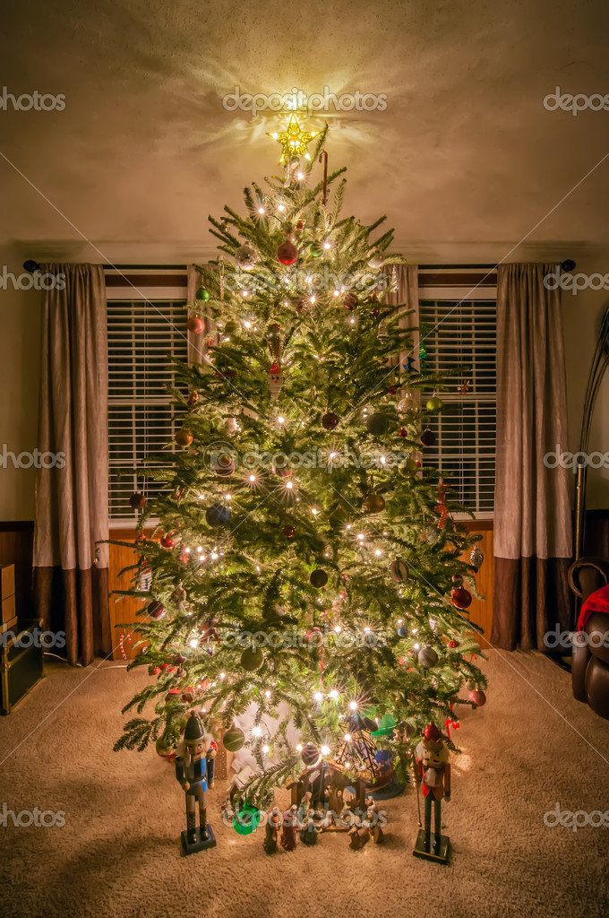 Christmas Tree Decorated In Living Room Stock Photo Digidream 16207433