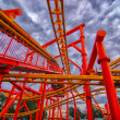 Rollercoaster in amusement park in summer — Stok fotoğraf