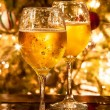 Two champagne glasses ready to bring in the New Year — Stock Photo