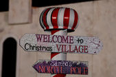 Welcome to christmas village — Stock Photo