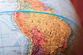 Part of a globe with map of South America — Stock Photo
