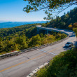 Blue Ridge Parkway Autumn Linn Cove Viaduct Fall Foliage Mountai - Stock Photo