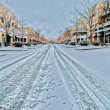Snow covered city street — Stock Photo