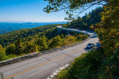 Blue Ridge Parkway Autumn Linn Cove Viaduct Fall Foliage Mountai — Stock Photo