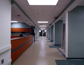 Long Hospital Hallway and entrance — Stock Photo