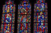 从国家大教堂的彩色玻璃窗口 — 图库照片
