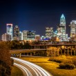 Charlotte City Skyline night scene — Stock Photo