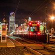 Light rail train system in downtown charlotte nc — Stock Photo