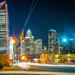 Charlotte City Skyline night scene - Stock Photo
