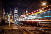 Charlotte City Skyline night scene with light rail system lynx t — Stock Photo