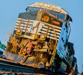 Front of old diesel locomotive on railway — Stock Photo