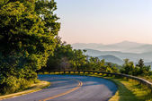 Early morning sunrise over blue ridge mountains — Stock Photo