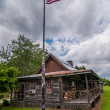 Old log cabin and american flag — Stock Photo