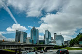Atlanta city skyline and highway traffic — Stock Photo