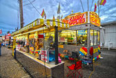 Fair Corn Dogs, part of the midway at state fair — Stock Photo