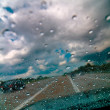 Raindrops on the windshield — Stock Photo