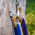 Climbing carabiner — Stock Photo