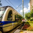 Charlotte north carolina light rail transportation moving system — Stock Photo