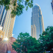 Skyline and city streets of charlotte north carolina usa — Stock Photo