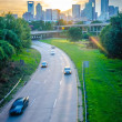 Sun setting over charlotte north carolina a major metropolitan c — Stock Photo