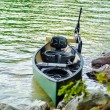 Kayak with electric motor — Stock Photo