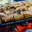 Stock Photo: Beef kababs on the grill closeup