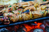 Beef kababs on the grill closeup — Stock Photo